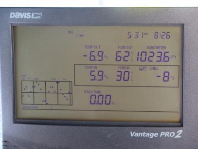 Temperatura registrada no estação meteorológica do PNI: -6,9 graus Celsius. Foto: Alexandre Dupont.